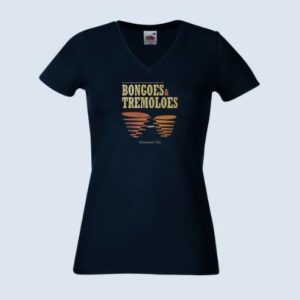 Bongoes and Tremoloes Women Tee Shirt - Deep Navy Blue V NECK